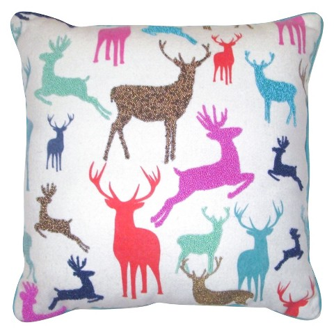 "Multi Color Reindeer Decorative Pillow with Piping 18""x18""  -Threshold™"