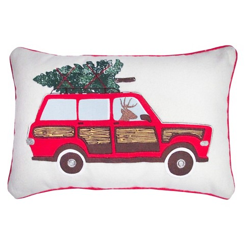 Car Applique and Embroidery Decorative Pillow wi... : Target