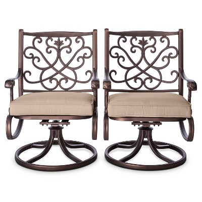 Folwell 2pk Cast Aluminum Swivel Dining Chairs Tan - Threshold™