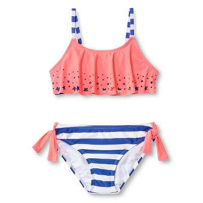 Girls' 2-Piece Star Flounce Bikini Coral XS - Circo®