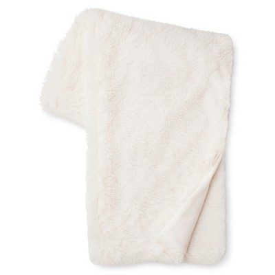 "Long Faux Fur Throw (50""x60"") Cream - Xhilaration™"