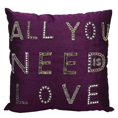 "Beaded Love Decorative Pillow - Purple - 18"" x 18"""