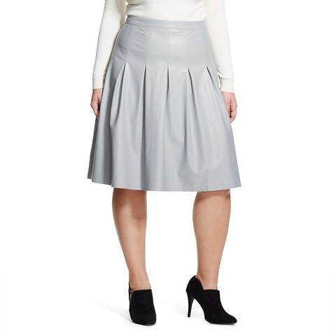 women s plus size a line faux leather skirt ligh target