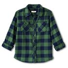 Boys' Button Down Flannel Shirt Green M - Cherokee®