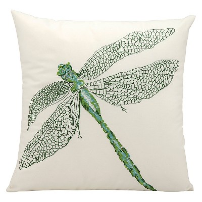 "Dragonfly Indoor/Outdoor Decorative Pillow - Green - 16"" x 16"""