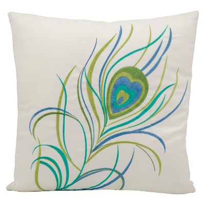 Peacock Feather Indoor/Outdoor Decorative Pillow - Green - 18  x 18