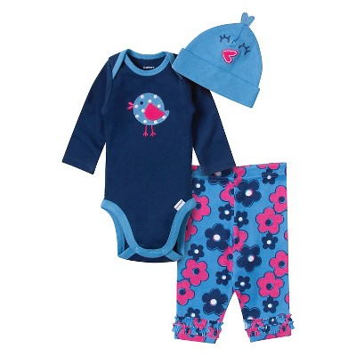 Gerber® Newborn Girls' 3pc Bird Bodysuite - Blue NB