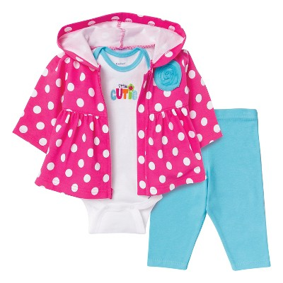 Gerber® Newborn Girls' Cutie 3 Piece French Terry Jacket Set