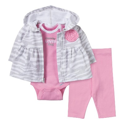 Gerber® Newborn Girls' Zebra 3 Piece French Terry Jacket Set