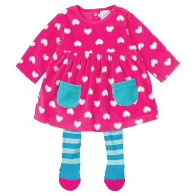 Gerber® Newborn Girls' Heart 2 Piece Dress with Tights