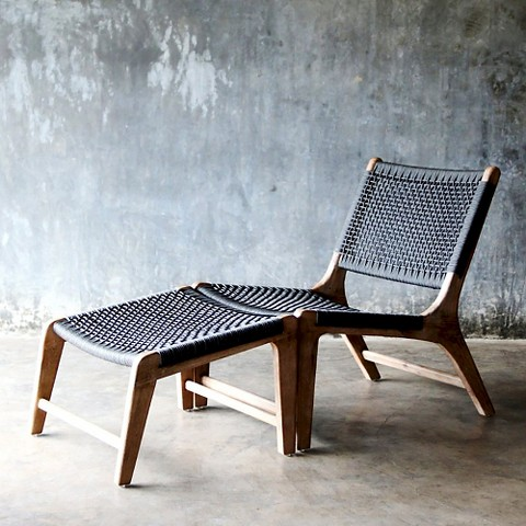 Oceans Wood Lounge Chair and Ottoman Set Tar