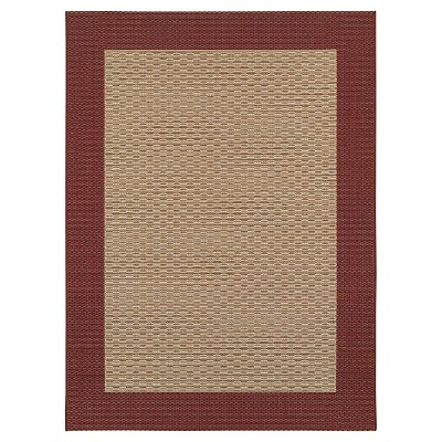 5'x7' Outdoor Rug - Oxblood Frame - Smith & Hawken™