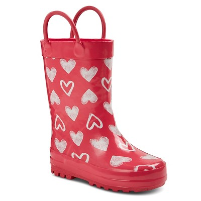 Toddler Girls' Davine Hearts Rain Boots - Pink L
