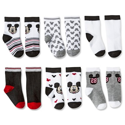 Toddler Boys' Mickey Mouse 6-Pack Casual Socks - Multi-Colored 3-6 M