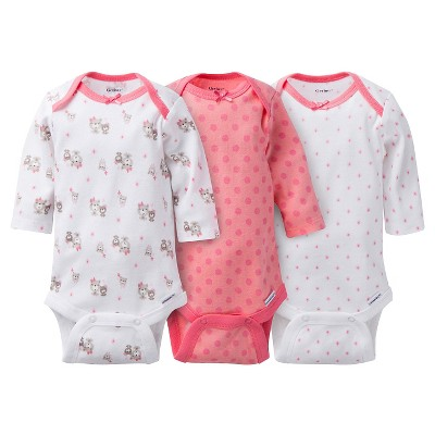 Gerber® Onesies® Girls' 3 pack long sleeve Bodysuit - Bear Print Coral 0-3 M