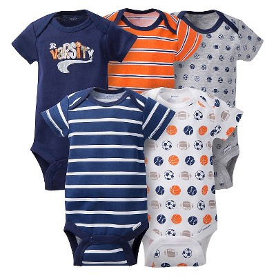 Gerber® Baby Boys' 5pk Sports Onesies® - Blue/Orange 0-3 M