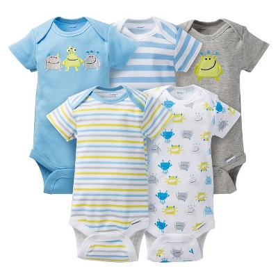 Gerber® Baby Boys' 5pk Monster Onesies® - Light Blue/Grey 0-3 M