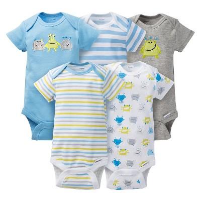 Gerber® Baby Boys' 5pk Monster Onesies® - Light Blue/Grey 3-6 M