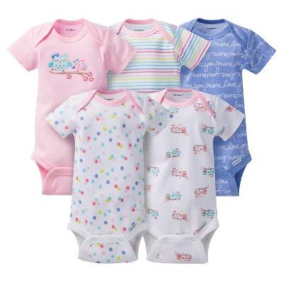Gerber® Baby Girls' 5pk Owl Onesies® - Pink/Blue NB