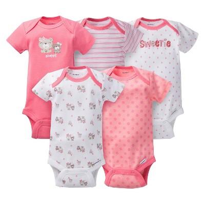Gerber® Baby Girls' 5pk Bear Onesies® - Coral NB