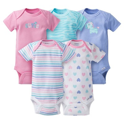 Gerber® Baby Girls' 5pk Zebra Onesies® - Purple 0-3 M