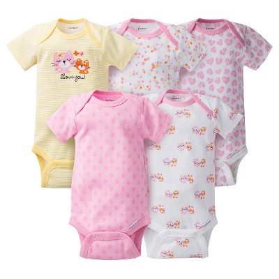Gerber® Baby Girls' 5pk Kitty Onesies® - Pink 6-9 M