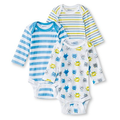 Gerber® Onesies® Boys' 3 pack long sleeve Bodysuit - Sports Stripe Blue 0-3 M