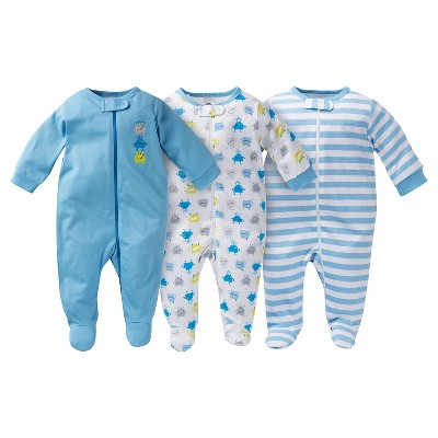 Gerber® Baby Sleep N' Play Footed Sleepers - Monster Blue 0-3 M