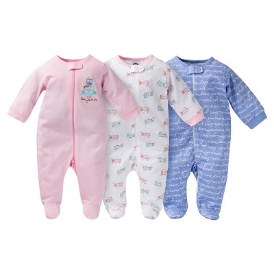 Gerber® Baby Sleep N' Play Full Body Sleepwear - Owl Print Pink 0-3 M