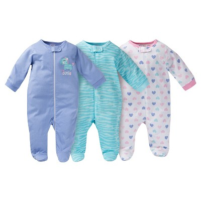 Gerber® Baby Sleep N' Play Full Body Sleepwear - Zebra Print Purple 0-3 M
