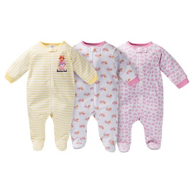 Gerber® Baby Sleep N' Play Footed Sleepers - Kitty Print Pink 0-3 M