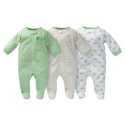Gerber® Onesies® Baby Sleep N' Play Footed Sleepers - Frog Print Green 0-3 M