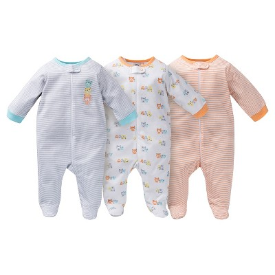 Gerber® Baby Sleep N' Play Footed Sleepers - Bear Stripe Grey NB