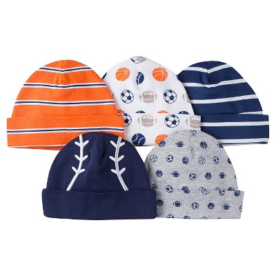 Gerber® Onesies® Boys' 5 pack Caps Set - Sports Print Navy 0-6 M