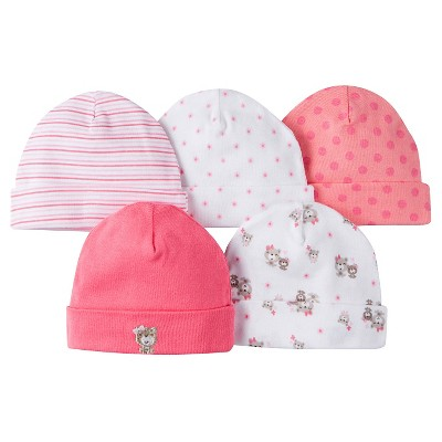 Gerber® Girls' 5 pack Caps Set - Bear Print Coral 0-6 M