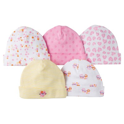 Gerber® Girls' 5 pack Caps Set - Kitty Print Pink 0-6 M