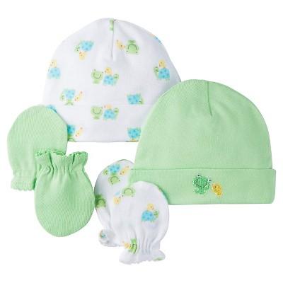Gerber® Onesies® 2 pack Caps/Mittens Set - Frog Print Green 0-6 M