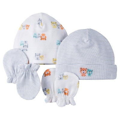 Gerber® 2 pack Caps/Mittens Set - Bear Print Gray 0-6 M