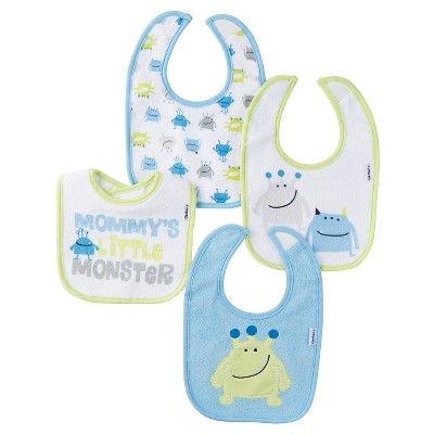 Gerber® Onesies® Boys' 4 pack Bib Set - Monster Blue One Size