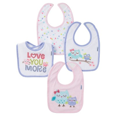 Gerber® Girls' 4 pack Bib Set - Owl Pink One Size
