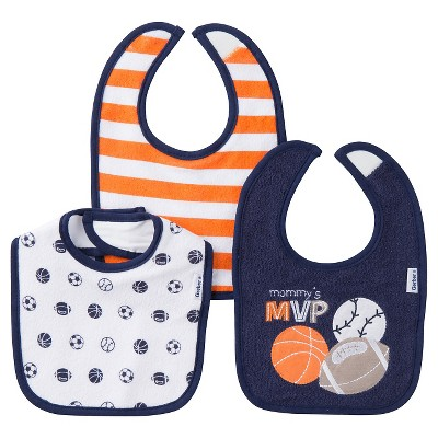 Gerber® Boys' 3 pack Bib Set -Sports Navy One Size