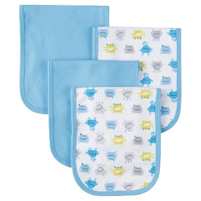 Gerber® Boys' 4 pack Burp Cloth - Monster Print Blue One Size