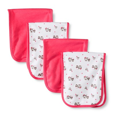 Gerber® Onesies® Girls' 4 pack Burp Cloth - Bear Print Coral One Size