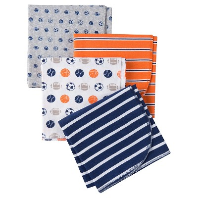 Gerber® Boys' 4 pack Blanket - Sports Print Blue One Size