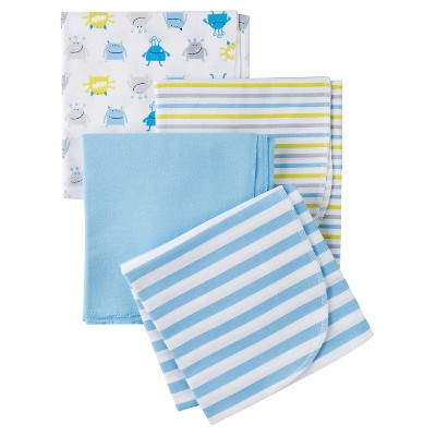 Gerber® Onesies® Boys' 4 pack Blanket - Monster Print Blue One Size