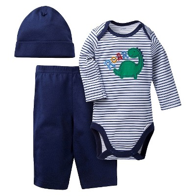 Gerber® Onesies® Baby Top & Bottom 3 Piece Set - Dinosaur Stripe Blue 3-6 M