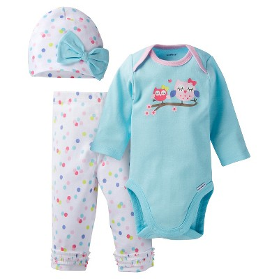 Gerber® Baby Top & Bottom 3 Piece Set - Owl Turquoise 0-3 M