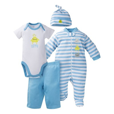 Gerber® Baby Top & Bottom 4 Piece Set - Monster Blue 0-3 M