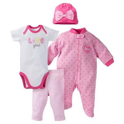 Gerber® Onesies® Baby Top & Bottom 4 Piece Set - Love Pink 0-3 M