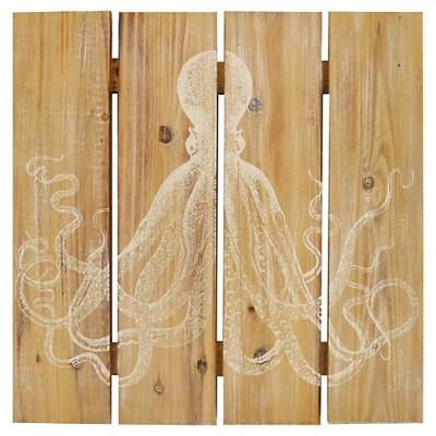 "Wood Plank Octopus (20x20"")"